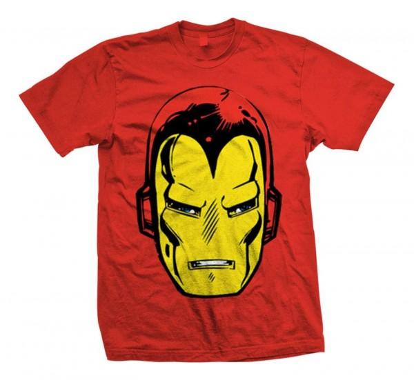Bravado - Marvel Comics Iron Man Big Head T-Shirt - Rot Vorderansicht
