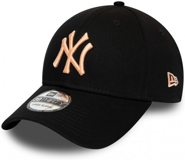 New Era - MLB New York Yankees Essential 39Thirty Stretch Cap - Schwarz Ansicht vorne links