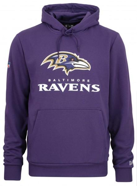 Hoodie in der Farbe Lila, mit dem gedruckten Raven Logo auf der Vorderseite