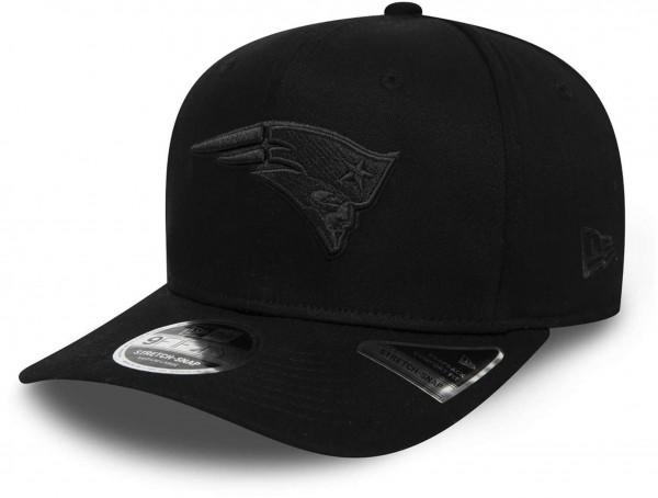 New Era - NFL New England Patriots Tonal Black 9Fifty Stretch Snapback Cap - Schwarz Ansicht vorne schräg links