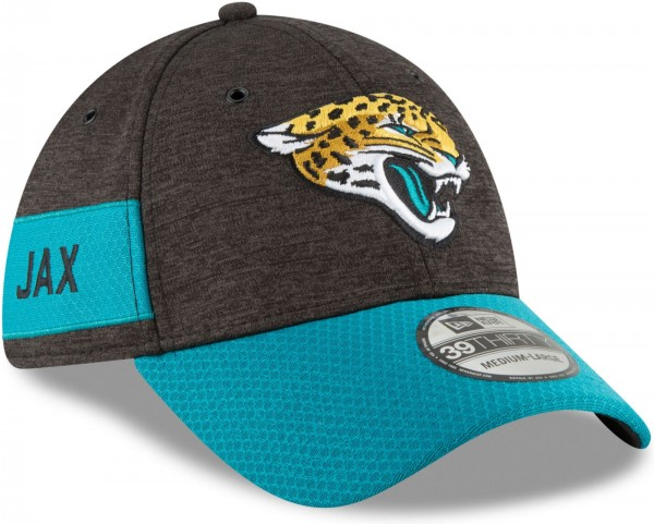 New Era - NFL Jacksonville Jaguars 2018 Sideline Home 39Thirty Stretch Cap - Graut schräg vorne rechts