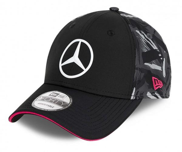 New Era - Mercedes eSports Replica AOP Rear 9Forty Strapback Cap - Schwarz Ansicht vorne schräg links