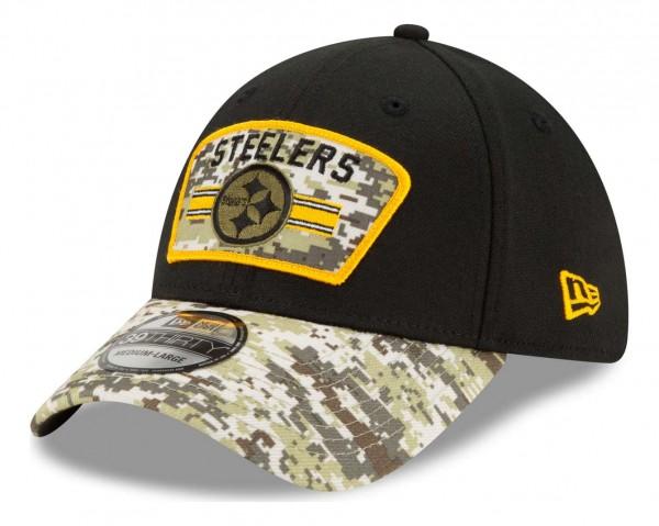 New Era - NFL Pittsburgh Steelers 2021 Salute To Service 39Thirty Stretch Cap - Schwarz Ansicht vorne schräg links