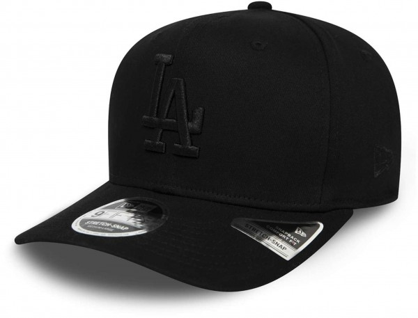 New Era - MLB Los Angeles Dodgers Tonal Black 9Fifty Stretch Snapback Cap - Schwarz Ansicht vorne schräg links