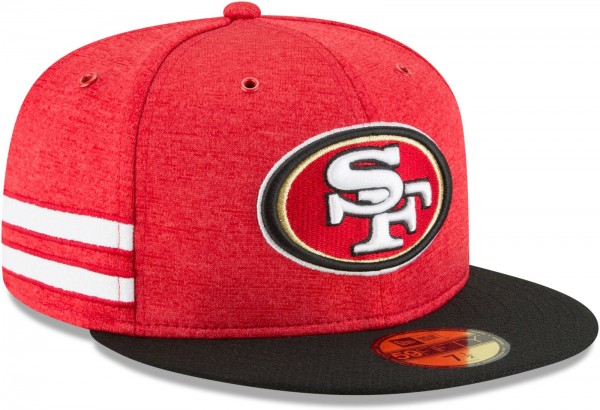New Era - NFL San Francisco 49ers 2018 Sideline Home 59Fifty Fitted Cap - Rot schräg vorne rechts