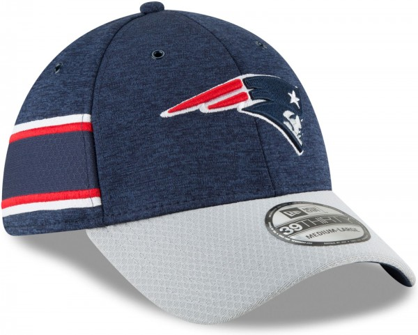 New Era - NFL New England Pariots 2018 Sideline Home 39Thirty Stretch Cap - Blau schräg vorne rechts
