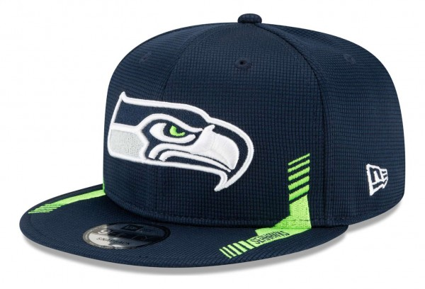 New Era - NFL Seattle Seahawks 2021 Sideline Home 9Fifty Snapback Cap - Blau Ansicht vorne schräg links