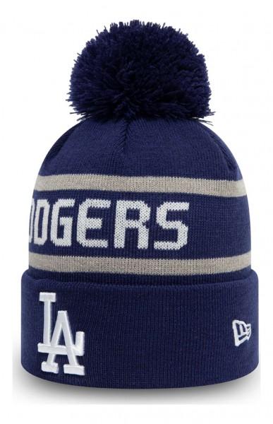 New Era - MLB Los Angeles Dodgers Jake Cuff Knit Bobble Beanie - Blau Ansicht vorne schräg links