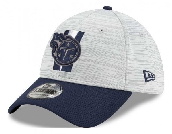 New Era - NFL Tennessee Titans 20212 Training 39Thirty Stretch Cap - Grau-Blau Ansicht vorne schräg links