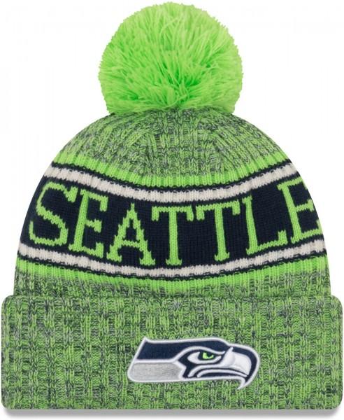 New Era - NFL Seattle Seahawks 2018 Sport Knit Bobble Beanie - Grün-Blau ansicht vorderseite