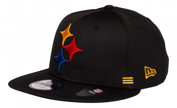 New Era - NFL Pittsburgh Steelers OnField 2020 Sideline Home 9Fifty Snapback Cap - Schwarz Ansicht vorne schräg links