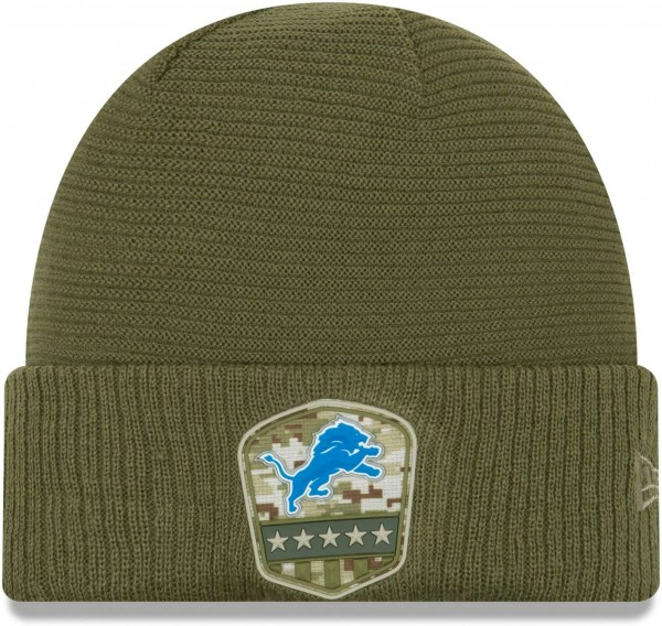 New Era - NFL Detroit Lions On Field 2019 Salute to Service Knit Cuff Beanie - Olivgrün Vorderansicht