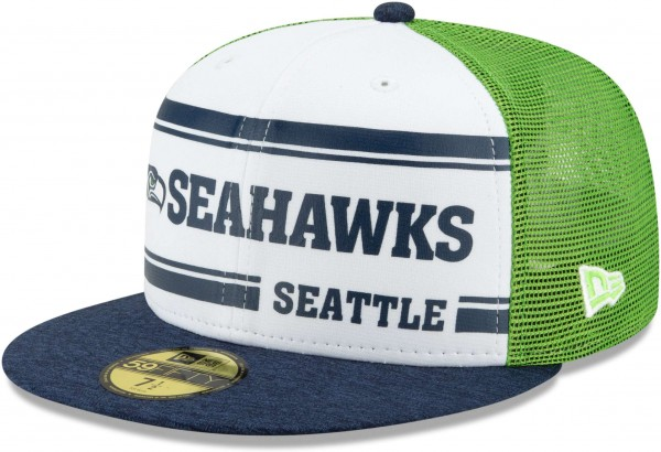New Era - NFL Seattle Seahawks On Field 2019 Sideline Home 59Fifty Fitted Cap - Mehrfarbig Ansicht schräg links