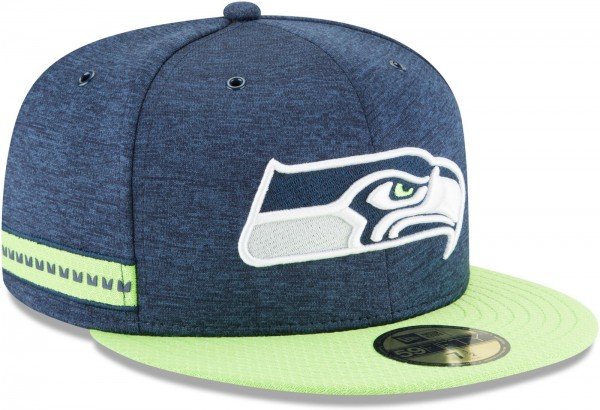 New Era - NFL Seattle Seahawks 2018 Sideline Home 59Fifty Fitted Cap - Blau schräg vorne rechts