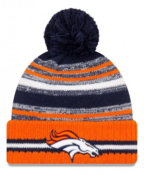 New Era - NFL Denver Broncos 2021 Sport Knit Bobble Beanie - Mehrfarbig Vorderansicht