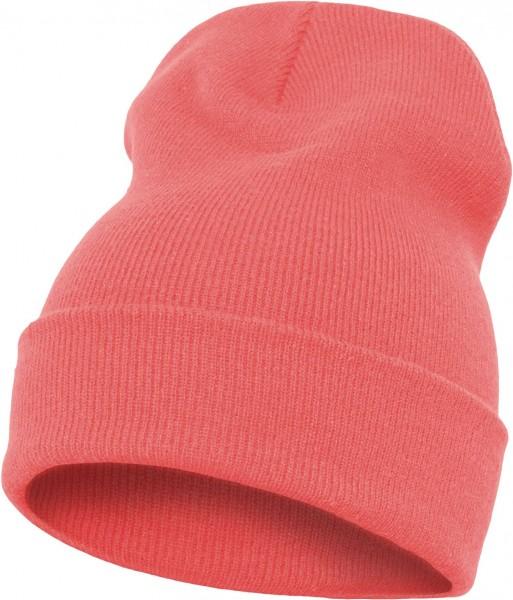 Yupoong - Heavyweight Knit Cuffed Long Beanie - Korallenrot Schrägansicht Vorderseite