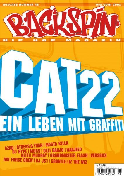 Auf dem Bild ist das Cover zu sehen der BACKSPIN Printausgabe Nummer 45