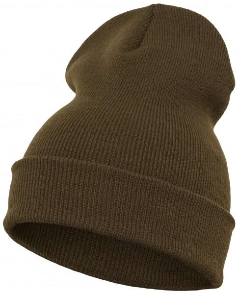Yupoong - Heavyweight Knit Cuffed Long Beanie - Olivgrün Schrägansicht Vorderseite