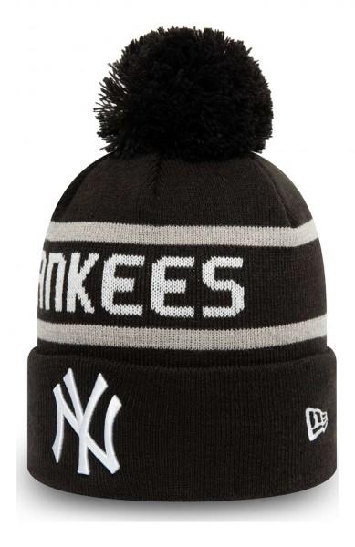 New Era - MLB New York Yankees Jake Cuff Knit Bobble Beanie - Schwarz Ansicht vorne schräg links