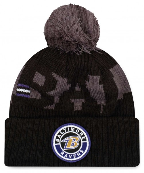 New Era - NFL Baltimore Ravens On Field 2020 Sport Knit Bobble Beanie - Schwarz Vorderansicht