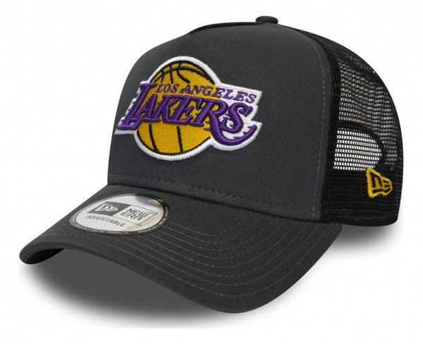 New Era - NBA Los Angeles Lakers Dark Base Team Trucker A-Frame Snapback Cap - Grau Ansicht vorne schräg rechts