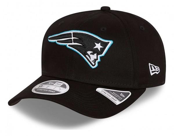New Era - NFL New England Patriots Neon Pop Outline 9Fifty Stretch Snapback Cap - Schwarz Ansicht vorne schräg links