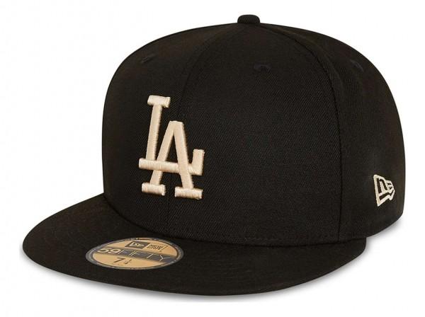 New Era - MLB Los Angeles Dodgers League Essential 59Fifty Fitted Cap - Schwarz Ansicht vorne schräg links