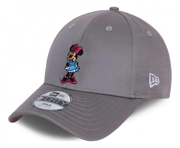 New Era - Disney Minnie Mouse Character 9Forty Kids Strapback Cap - Grau Ansicht vorne schräg links