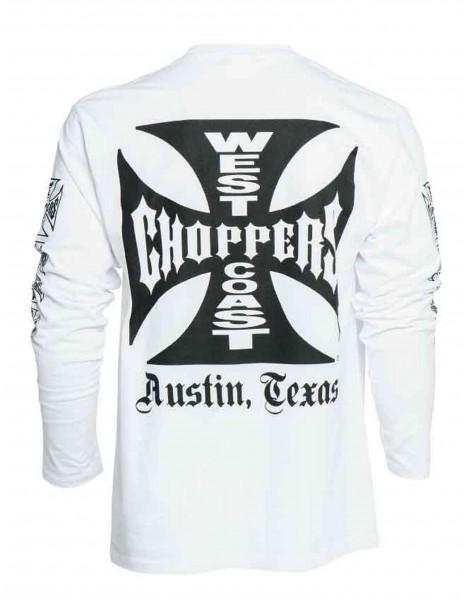 West Coast Choppers - WCC OG Cross Austin/Texas Longsleeve - Weiß Rückansicht