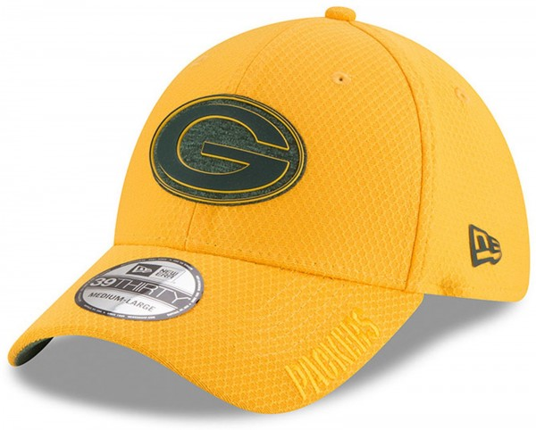 New Era - NFL Green Bay Packers Official 2018 Training Secondary 39Thirty Stretch Cap - Gelb