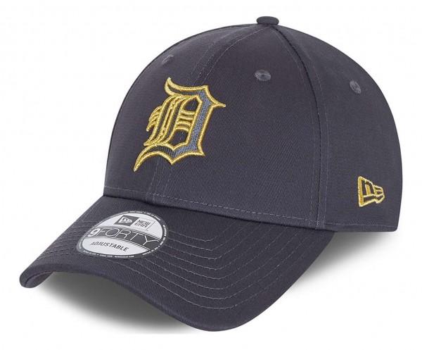 New Era - MLB Detroit Tigers Metallic Logo 9Forty Strapback Cap - Grau Ansicht vorne schräg links