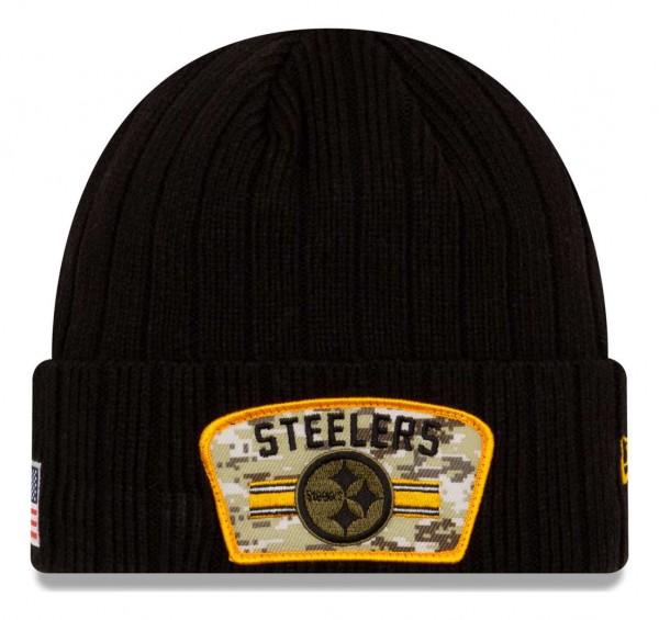 New Era - NFL Pittsburgh Steelers 2021 Salute To Service Knit Beanie - Schwarz Vorderansicht