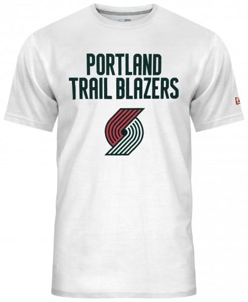 New Era - NBA Portland Trail Blazers Team Logo T-Shirt - Weiß Vorderansicht