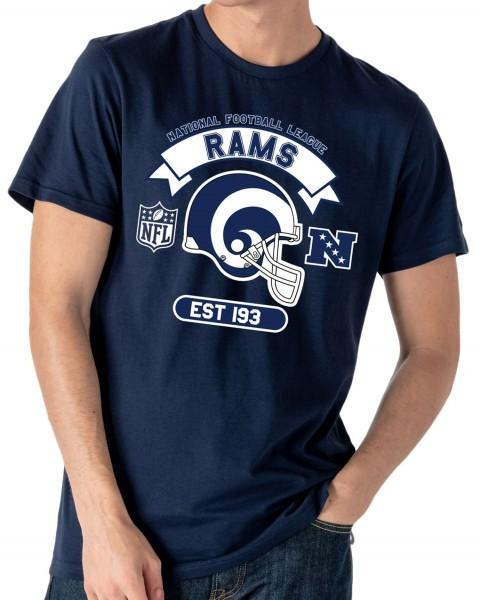 New Era - NFL Los Angeles Rams Graphic Helmet T-Shirt - Blau Vorderansicht