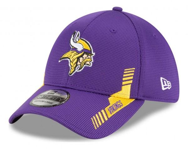 New Era - NFL Minnesota Vikings 2021 Sideline Home 39Thirty Stretch Cap - Lila Ansicht vorne schräg links