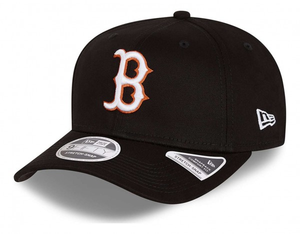 New Era - MLB Boston Red Sox Neon Pop Outline 9Fifty Stretch Snapback Cap - Schwarz Ansicht vorne schräg links