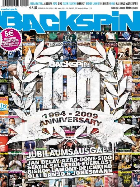 Auf dem Bild ist das Cover zu sehen der BACKSPIN Printausgabe Nummer 100