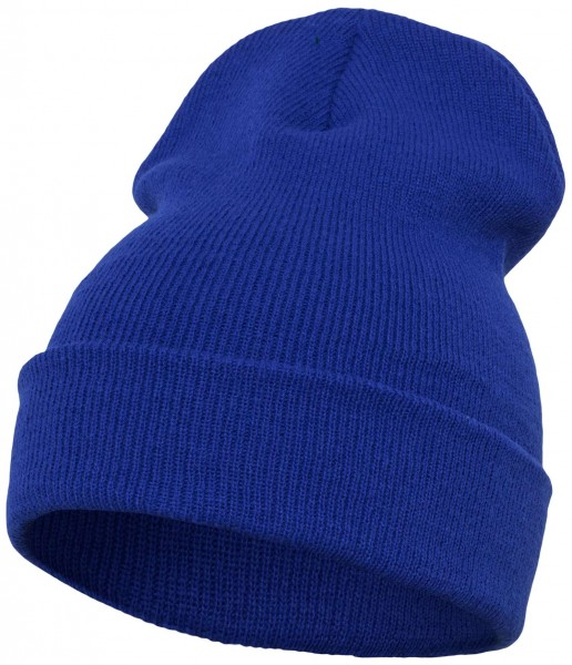 Yupoong - Heavyweight Knit Cuffed Long Beanie - Royalblau Schrägansicht Vorderseite