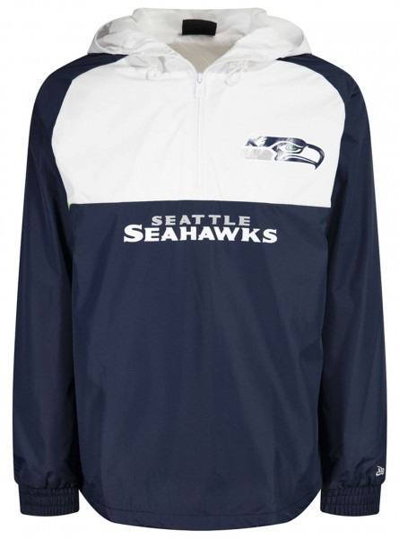 New Era - NFL Seattle Seahawks Colour Block Windbreaker Jacke - Blau-Weiß Vorderansicht