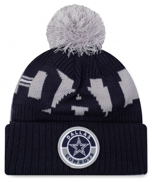 New Era - NFL Dallas Cowboys On Field 2020 Sport Knit Bobble Beanie - Blau Vorderansicht