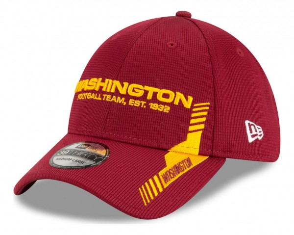 New Era - NFL Washington Football Team 2021 Sideline Home 39Thirty Stretch Cap - Rot Ansicht vorne schräg links