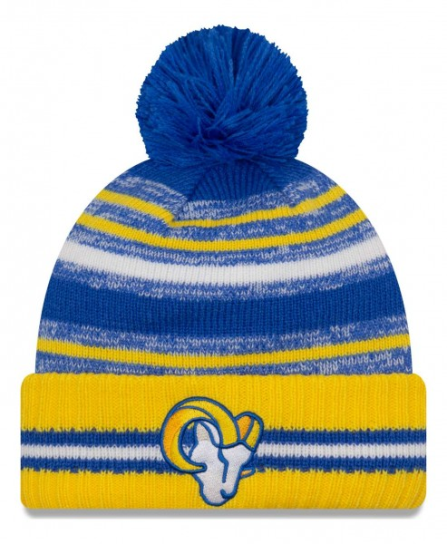 New Era - NFL Los Angeles Rams 2021 Sport Knit Bobble Beanie - Mehrfarbig Vorderansicht