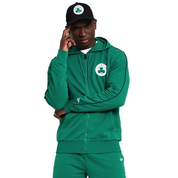 New Era - NBA Boston Celtics Stripe Piping Zip Hoodie - Grün Vorderansicht
