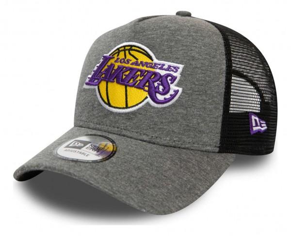 New Era - NBA Los Angeles Lakers Jersey Essential Trucker Snapback Cap - Grau Ansicht vorne schräg links