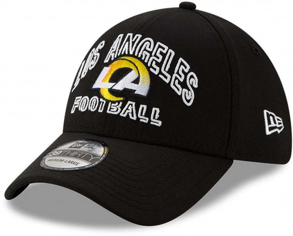 New Era - NFL Los Angeles Rams 2020 Draft Alternative 39Thirty Stretch Cap - Schwarz Ansicht vorne schräg links