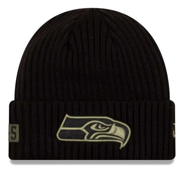 New Era - NFL Seattle Seahawks 2020 Salute to Service Knit Beanie - Schwarz Vorderansicht