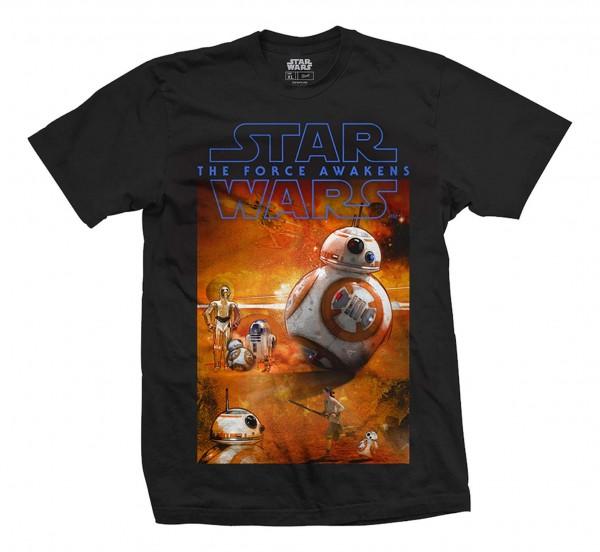 Bravado - Star Wars Episode 7 BB8 Composition T-Shirt - Schwarz Vorderansicht