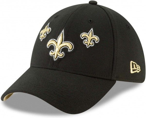 New Era - NFL New Orleans Saints Draft 2019 On-Stage 39Thirty Stretch Cap - Schwarz Ansicht schräg links