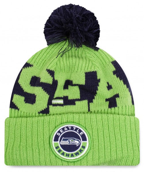 New Era - NFL Seattle Seahawks 2020 Sport Knit Bobble Beanie - Grün Vorderansicht