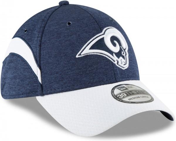 New Era - NFL Los Angeles Rams 2018 Sideline Home 39Thirty Stretch Cap - Blau schräg vorne rechts